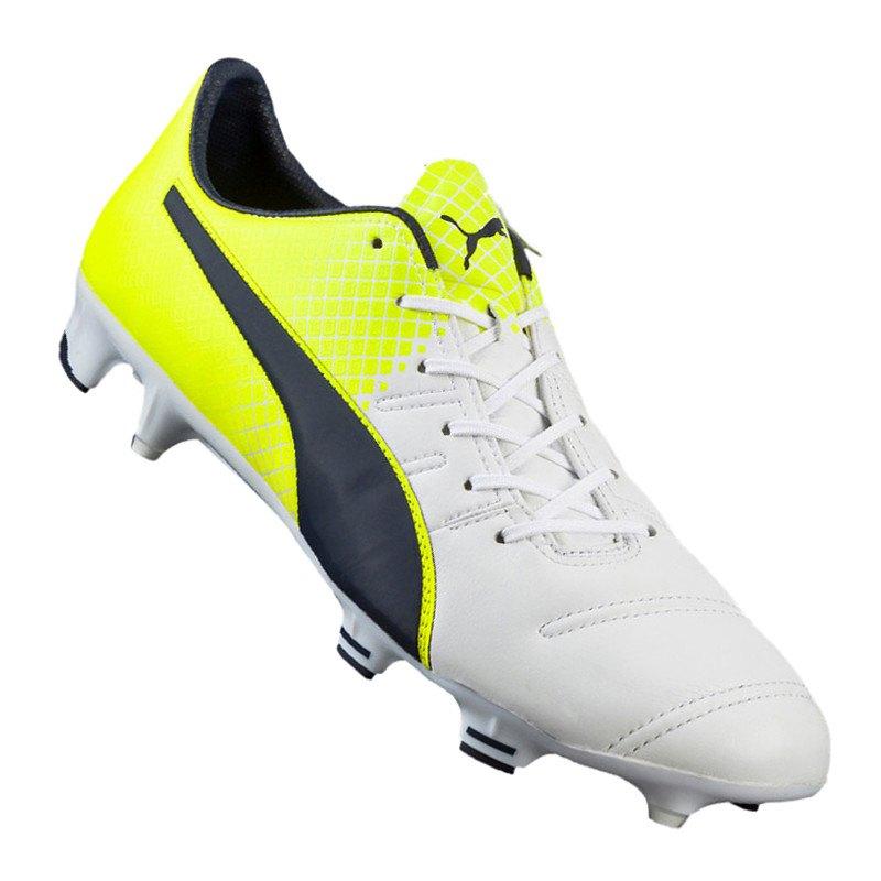 Puma Fußballschuhe Evo Power 1.3 FG Leder | weiß gelb