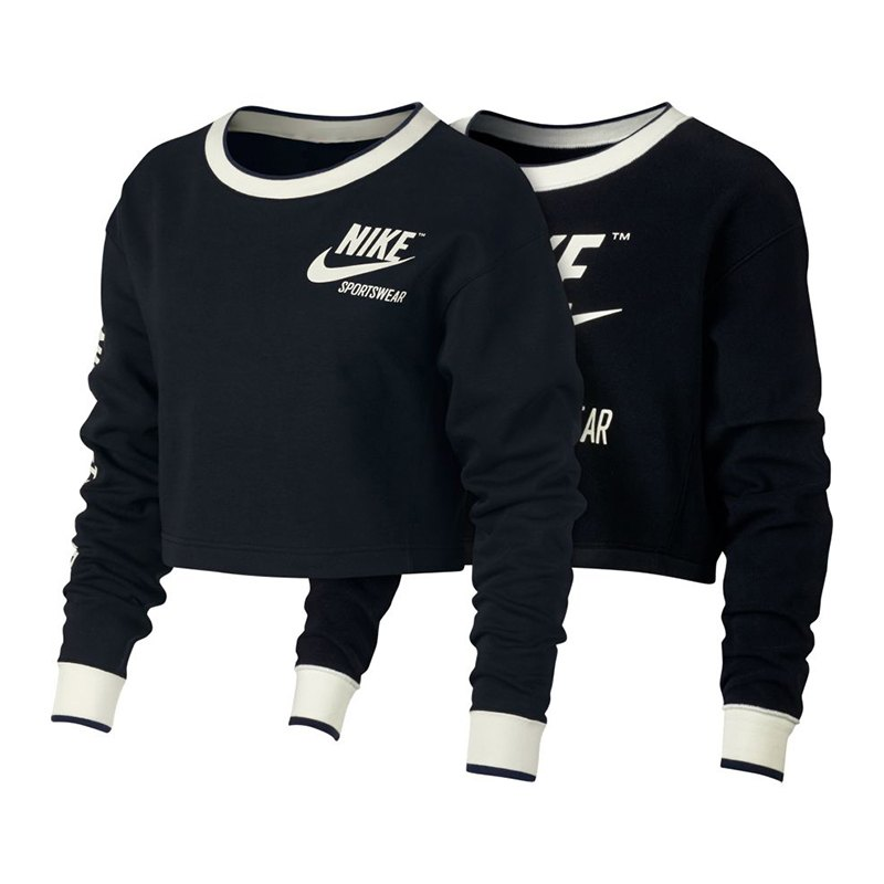 4e52b391f9976 Nike Crew Sweatshirt Damen Schwarz Weiss F010