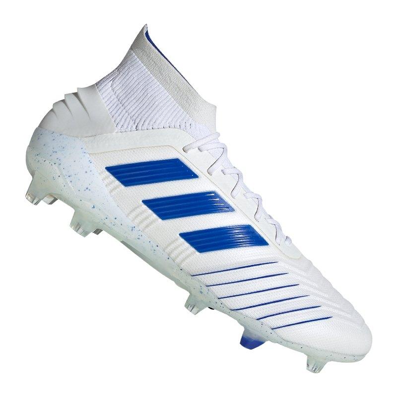 adidas Predator 19.1 FG Weiss Blau - weiss
