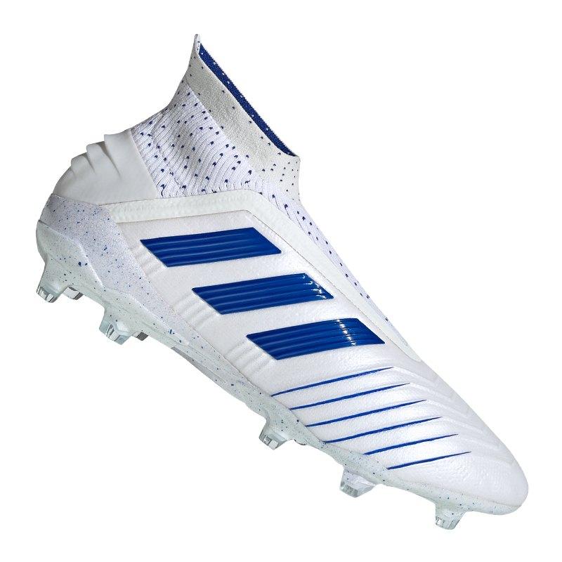 adidas Predator 19+ FG Weiss Blau   - weiss
