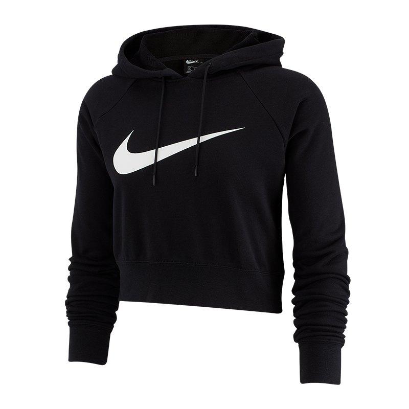 Nike Swoosh Hoody Crop Top Damen Schwarz F010