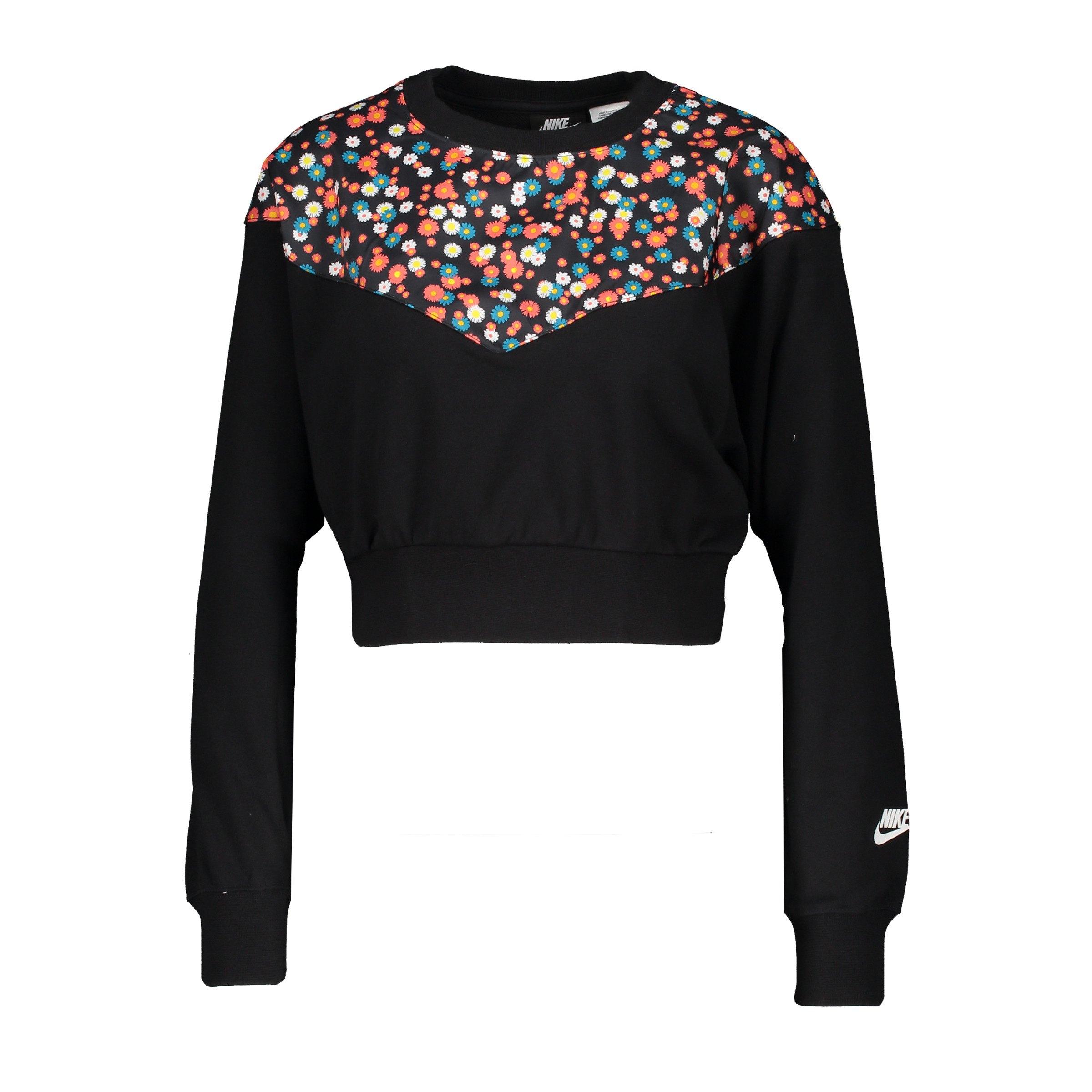 nike heritage floral sweatshirt damen schwarz f010
