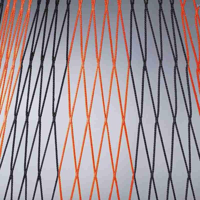 Tornetze 7,5 x 2,5 m, 2,0 m untere Tiefe | schwarz rot - schwarz