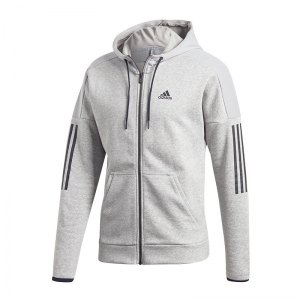 new york 4bccc 6a308 adidas-sport-id-logo-fleece-kapuzenjacke-grau-lifestyle-