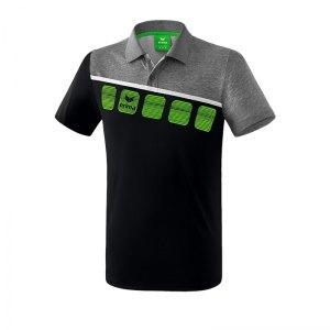 erima-5-c-poloshirt-schwarz-grau-fussball-teamsport-textil-poloshirts-1111904.png