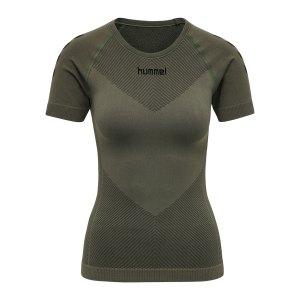 hummel-first-seamless-t-shirt-damen-khaki-f6084-202644-teamsport_front.png